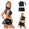Sexy Women Patent Leather Schoolgirl Costume Role Play Mini Skirt Outfits Set