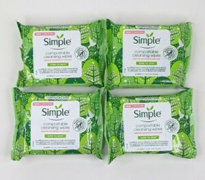 Simple 4Xs  Cleansing Face Wipes Makeup Remover Compostable Kind To Skin