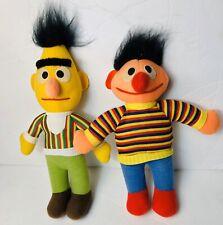 "Bert And Ernie Stuffed Dolls Hasbro Softies Preschool Vintage Sesame Street 10"""