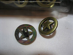 BUTTONS 8 PIECES GOLD STAR Metal Buttons made for Western Shirts