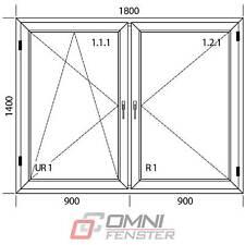 PVC Fenster 865x535 DK links weiß Drehkipp