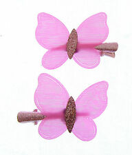 Beautiful pink  with glitter butterfly  hair clips 2 on a card (E A)
