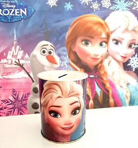 Salvadanaio in latta portamonete di Frozen il regno di ghiaccio con Elsa e Anna