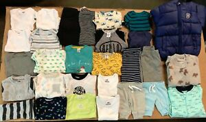 NEW LOT OF 31 Baby Boy Asst Clothing H&M, Gerber, Simple Joys & More sz 0M - 24M