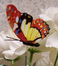 """Garden Decor Flower Pot Plant Pick Stake Colorful Butterfly New 12"""" tall #8"""