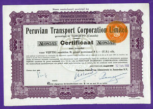 PERUVIAN TRANSPORT CORPORATION LIMITED CERTIFICAAT # 08545 WITH 29 coupons 531
