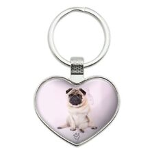 Pug Puppy Dog with Angel Wings Pink Heart Love Metal Keychain Key Chain Ring