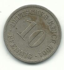 VERY FINE 1901 A GERMAN - GERMANY 10 PFENNIG-DEUTSCHES REICH-NOV152