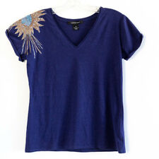 Lundstrom blue embellished applique top women's blouse Size S small shortsleeve
