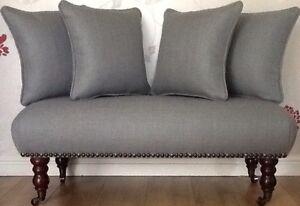 Footstool Stool Plus 4 Cushions Laura Ashley Dalton Steel Fabric