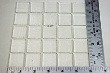 """25 CLEAR 1""""x1"""" SQUARES BULLSEYE 3mm FUSING GLASS CAPS / TOPPERS 90 COE"""