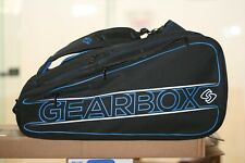 GEARBOX RACQUETBALL CLUB SIZE BIG Black BAG wtih Blue and White Graphics