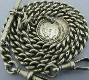 Antique Solid Silver Double Albert Watch Chain T-Bar & 3 Coin Fobs Bir 1918