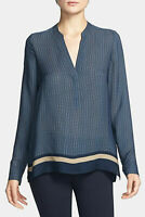 VINCE $325 Womens Tunic Blouse Half Placket Silk Printed Tan Border Navy Blue S