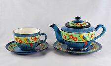 Vtg MARUHON WARE Tea Pot & Cup w/Saucers Blue Multi-Color Bird Pattern - Japan