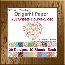 Flower Fantasy Origami Paper 6x6 inch Double Sided 200 Sheets 20 Vibrant Designs