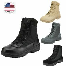 US Men's Zip Side Military Tactical Work Leather Motorcycle Combat Hiking Boots