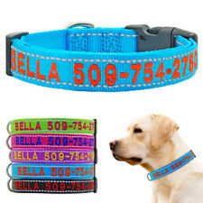 Embroidered Dog Collar Personalized Reflective Dog ID Name Phone Blue Pink Green