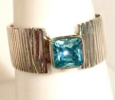 Contemporary Blue Topaz Quartz Solid Sterling Ring 3.4g Size 7
