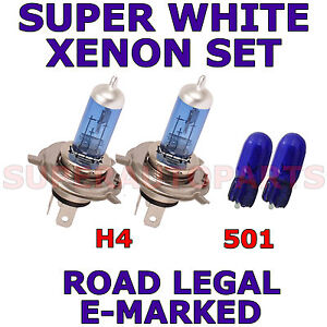 FITS NISSAN MICRA 2003-2007 SET H4 501 SUPER WHITE XENON LIGHT BULBS