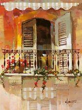 Willem Haenraets: Balcony I Fertig-Bild 30x40 Wandbild Balkon Fenster Idylle