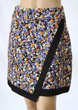 *New* REVIEW Size 8 Floral Wrap-Front Above Knee A-Line SKIRT Black Trim