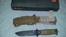 Gerber StrongArm Knife, Partial Serrated Blade, Coyote Brown/Green