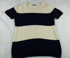 GAP Womens size Medium Short Sleeve striped Dark Blue Sweater EUC