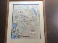 "NAPA Wineries 1983 Poster Oceana Map California Matted and Framed 27.5""x 21.5"""