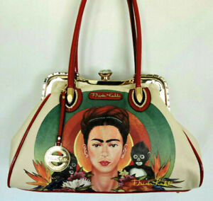 FRIDA KAHLO Large Handbag with Monkeys Rhinestones Red Patent Leather Accents