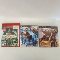 Uncharted 1, 2 & 3 Playstation 3 PS3 Game Lot Fast Shipping