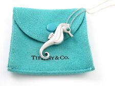 Tiffany & Co Silver RARE Turquoise Seahorse Sea Horse Pendant Necklace!