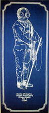 "Vintage Diving Helmet with Suit Blueprint Plan 1896 9""x21""   (187)"