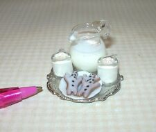 Miniature Christmas Egg Nog w/Gingerbread Cookies Tray: DOLLHOUSE 1/12 Scale