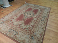 5x7, 5x8  French Aubusson Design Oriental Area Rug Beige Red Gray wool