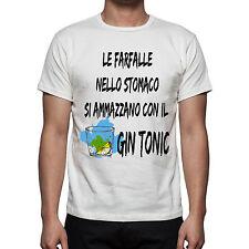 T-SHIRT T SHIRT UOMO  HAPPINESS FRASE DIVERTENTE  LE FARFALLE NELLO STOMACO GIN