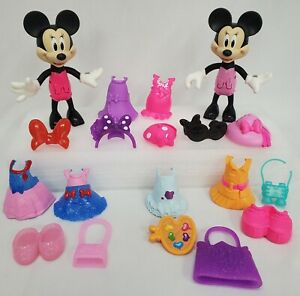 Lot of 19 Pc Disney Jr Minnie Mouse Bow-tique Snap N' Pose Clothes, Accessories