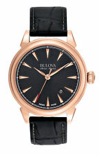 "Bulova Accu Swiss 64B123 ""Gemini"" Collection Automatic Leather Watch"