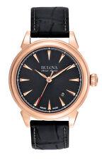 "Bulova Accu Swiss 64B123 ""Gemini"" Collection Automatic Leather Watch"