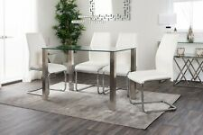 SALERNO Chrome And Glass Dining Table Set And 4 Leather Dining Chairs