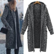 Damen Winter Casual Pullover Warm Mit Kapuze Lange Strickjacke Mantel Outwear