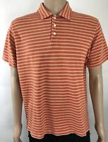 J.Crew Men's Polo Shirt Sz L Orange White striped 100% Pima Cotton Short Sleeve