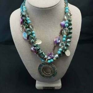 NWT Freska Purple Turquoise & Gold Cluster Bead Statement NECKLACE with Pendant