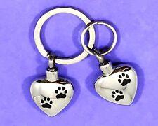 "Keyring Urn .5"" Key Chain Cremation Pendant Ashes Pet Dog Cat Paw Print Heart"