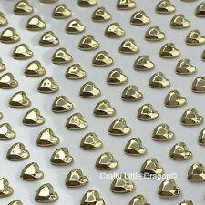 208 X 6mm Corazón Oro Metálico pálido Auto Adhesivo Pegar En Gemas Boda Favores