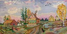 Vintage Finished Cross-Stitch Needlepoint-Village Unframed Excellent Condition.