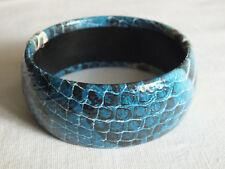 Beautiful Bangle Bracelet Blue Green Black Snake Skin Vinyl Wrapped 1 1/4x 2 5/8