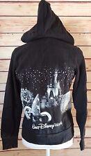 Disney World Parks Medium Authentic Black Glittered Hooded Zip Up Sweatshirt