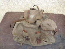 Ancien sac à dos militaire, chasseur alpin, en toile et cuir, randonnée, scout