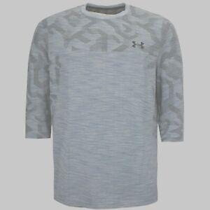 Under Armour heatgear Mens Seamless Threadborne Top 3/4 Sleeve Tees Grey L